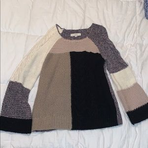 Loft patchwork sweater with small bell sleeves